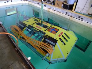 The Benthic Experiment Package (BEP) is composed of a hazard-resistant frame (shown here), the inside of which hosts an UW-APL-designed Low Power communications housing, and a variety of sensors to measure oceanographic properties that include acidity (pH), carbon dioxide, salinity and oxygen concentrations, and currents. A hydrophone that will be mounted outside of the frame will be used to detect sounds in the ocean.  The BEP is scheduled for installation in 2014 at the Endurance Offshore site that is part of the Endurance Array's Newport Line. This site is also the location of one of the RSN Primary Nodes, which is the power and data hub for the BEP Low-Power Junction Box, which is in turn the power and data hub for a variety of instrument platforms.