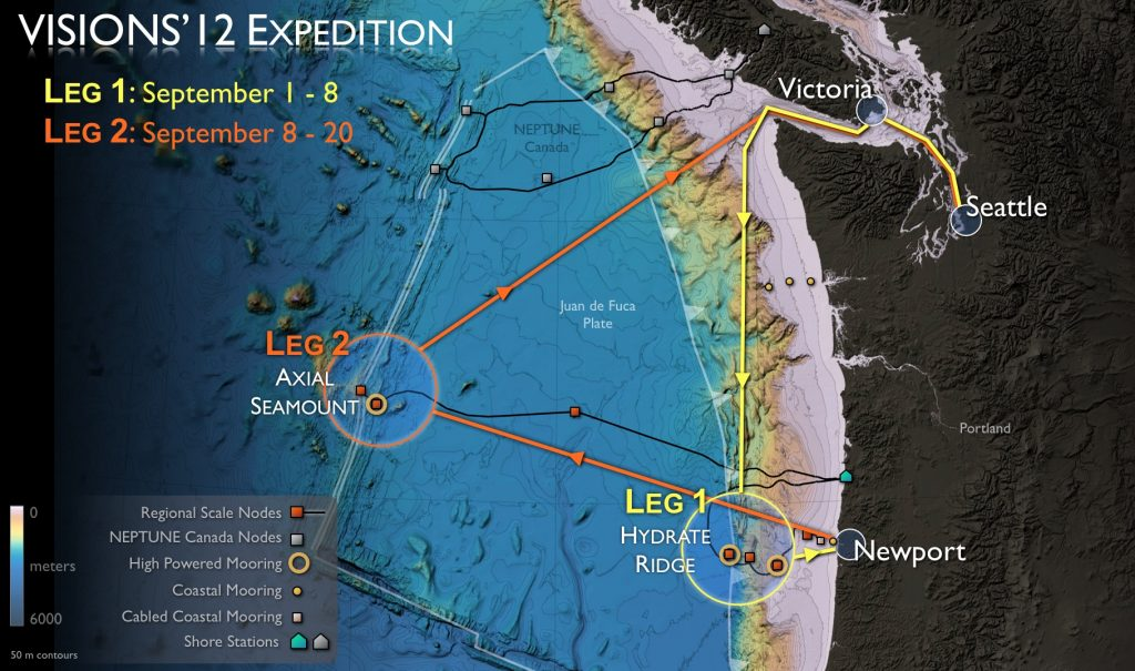 VISIONS'12 Expedition routes for legs 1 & 2.