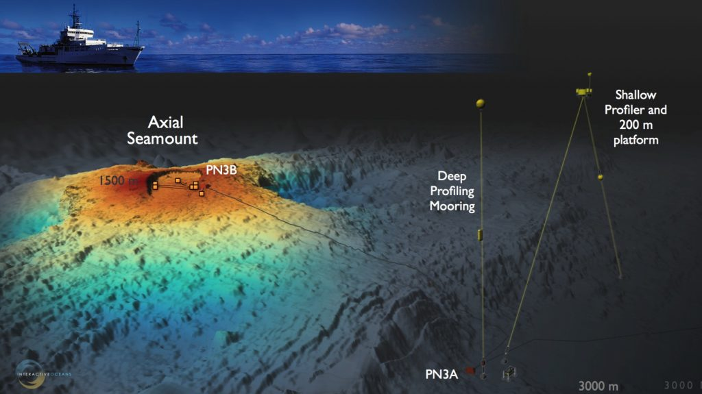 Image of mooring infrastructure at Axial Seamount Primary Node 3A