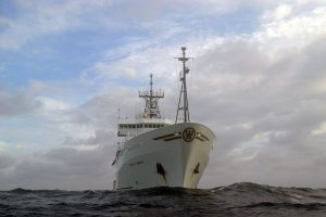 The R/V Thompson ~ 300 miles offshore as it works above Axial Volcano during the Visions'11 cruise.