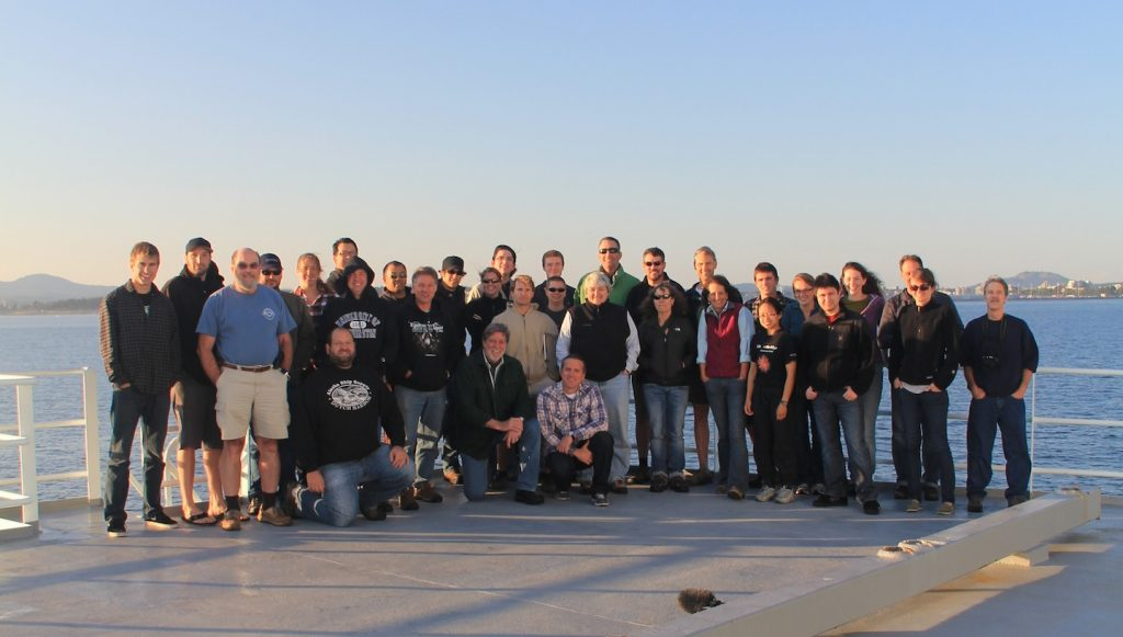 The science party for VISIONS'11 Leg 2 as the R/V Thompson pulls into Victoria, Canada.