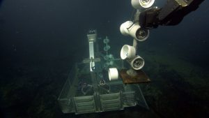 The Candadian ROV ROPOS recovers Sensorbots from the ASHES hydrothermal field.