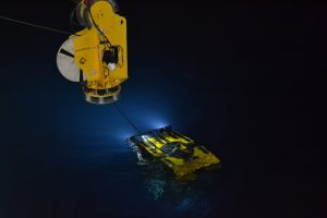 The ROV ROPOS during its launch for dive #1471 on August 27th.