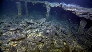 The ROV ROPOS gently flew into a small collapse basin marked by pillars, arches and isolated columns of basalt. These areas form as lava drains out from deep lava pools. The surface of the lava lake or channel very rapidly cools as it interacts with near freezing seawater. As the lava drains out, the roof is not strong enough to maintain its weight, and collapses into a pile of talus.