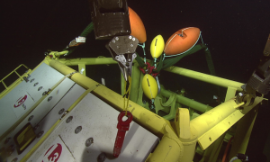 The backbone interface assembly on the seafloor at Hydrate Ridge during the L3 engineering tests.