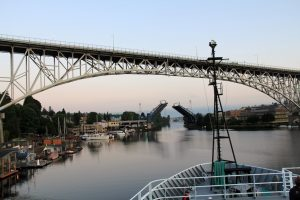 The Freemont drawbridge opens for the VISIONS'11 cruise as it begins the transit north.   	   	photo by Allison Fundis