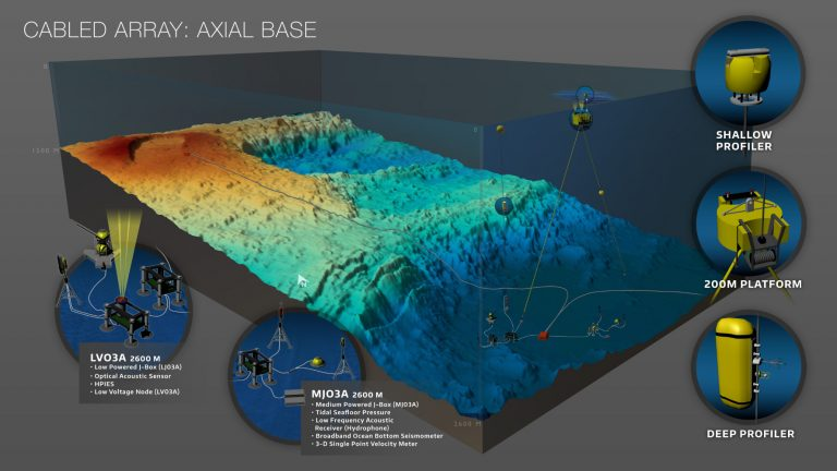 A variety of geophysical sensors are deployed at the base of Axial Seamount to monitor seismic events on the Juan de Fuca plate.