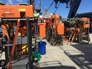 "An ""army"" of instrumented Shallow Profiler pods await installation on moorings at the Offshore, and Slope and Axial Base sites. Credit: D. Kelley, UW, V19"