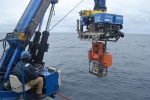 Launching Jason with the 2019 Slope Base shallow profiler pod docked underneath