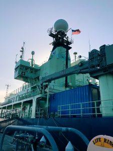 R/V Atlantis in port at the start of Leg 2. Credit: Chelsea Meier, Queens College, V19.