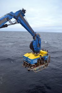 The ROV Jason is poised above the NE Pacific, ready for a dive on the Cabled Array expedition. Credit: M. Elend, University of Washington.