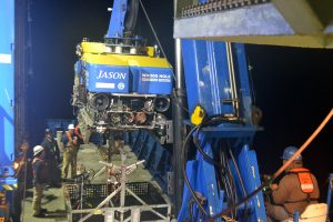 Jason beginning its launch for a deep dive at the base of Axial Seamount. Credit: M. Elend, University of Washington; V19