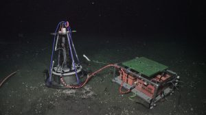 "The Oregon State/Harvard benthic microbial fuel cell (CH4-BMFC) sitting on a white bacterial mat at Southern Hydrate Ridge (770m). The anode is in the sediment, and the cathode is the black ""feather boa"" on the vertical component. Credit: UW/NSF-OOI/WHOI, V19"