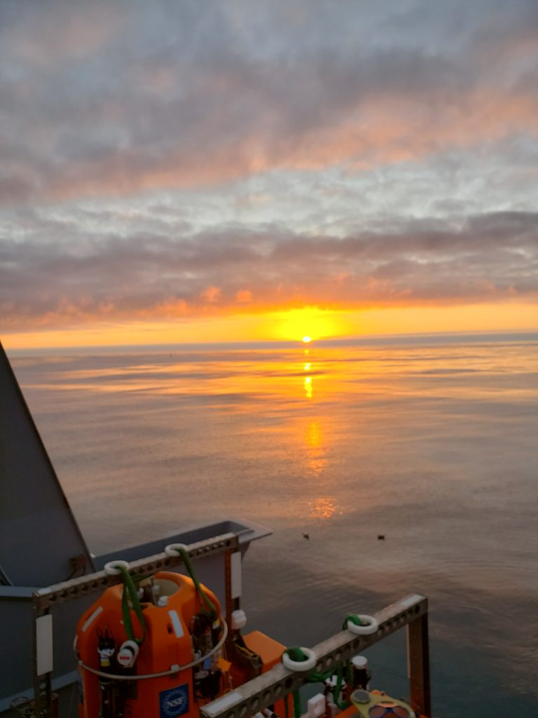 One of the best things of being at sea is seeing the remarkable sunsets. Credit: K. Gonzalez, University of Washington, V20.
