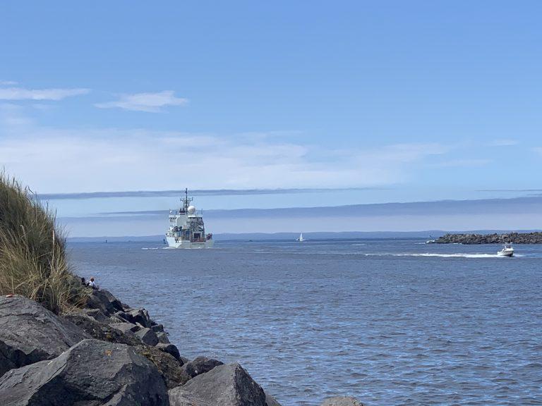 The R/V Thompson exiting the Yaquinna Bay channel. Credit: R. Scott, University of Washington.