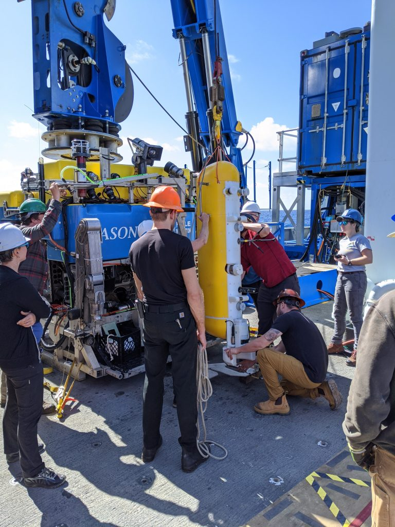The Deep Profiler is secured into the 'clam shell' on the front of the ROV Jason. Credit: I. Borchert, University of Washington, V20.