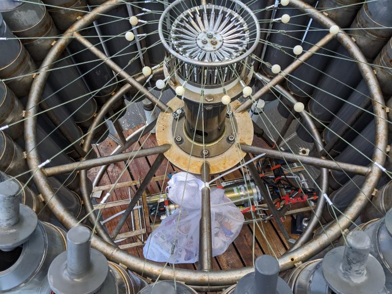 Looking down on the top of the CTD rosette onboard the R/V Thompson. Credit: I. Borchert, University of Washington. V20.