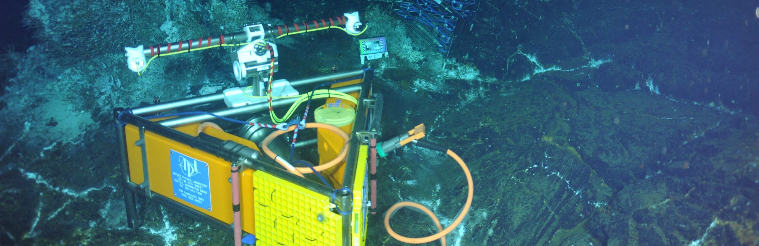 An ODI hybrid wet-mate connector provides > 1 Gbs video transmission capabilities and power to the RSN-OOI-NSF high definition camera that was deployed during the VISIONS'13 Expedition. The wetmate connectors allow an ROV to connect and disconnect infrastructure underwater without having to recover the equipment. The camera shown here is at a water depth of ~ 5000 ft at the summit of Axial Seamount.