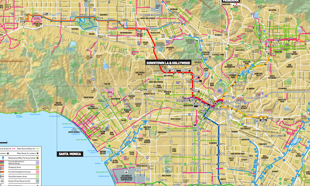 Metro Map With Streets.Metro Releases New Bike Map Of L A County The Source
