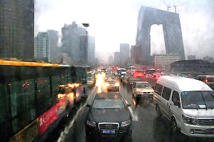 Traffic on a dreary day in Beijing in 2008. Photo by Noel back in Zurich, via Flickr.