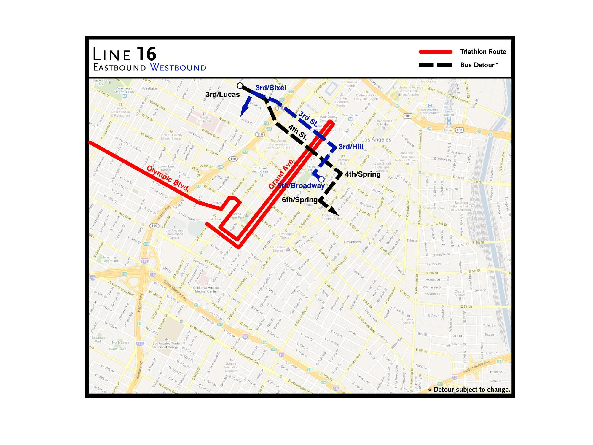 Route details and maps for Sundays LA Triathlon bus detours The