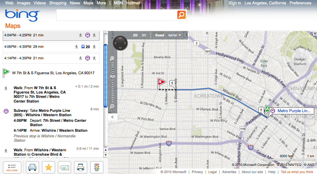 Bing now offering transit directions for Metro | The Source