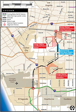 Metro plans to build a light rail line from the intersection of Exposition and Crenshaw boulevards to the Metro Green Line's Aviation/LAX station.