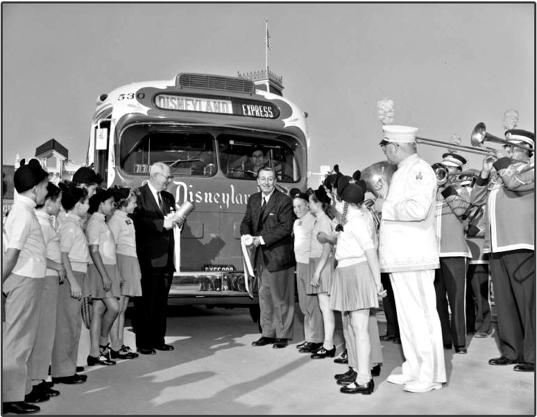 "Found on Flickr: The 50th anniversary of Disneyland in 2005 was also the 50th anniversary of Metro bus service to Disneyland. Metropolitan Coach Lines' ""Snow White"" bus went into service on Nov. 22, 1955. When the inaugural bus pulled onto Main Street in front of Disney's City Hall, it was greeted by Walt Disney himself, the Mouseketeers and a 16-piece band."