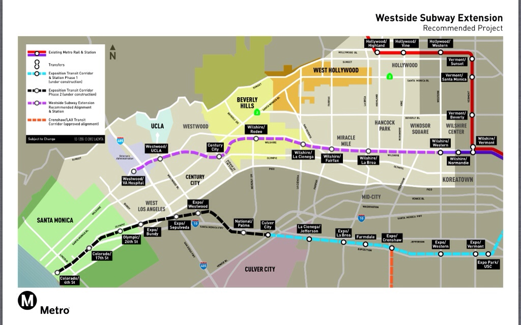 Santa Monica Subway Map.Metro Board Of Directors Approves Route For Westside Subway
