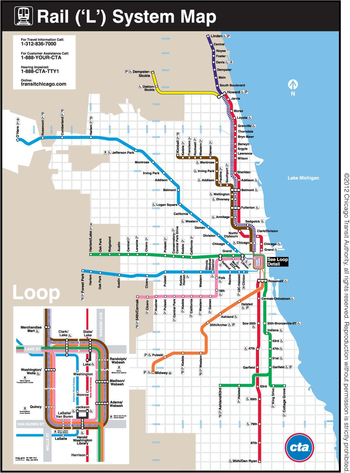 Transit Chicago Map.The Transit Tourist Chicago Ill The Source