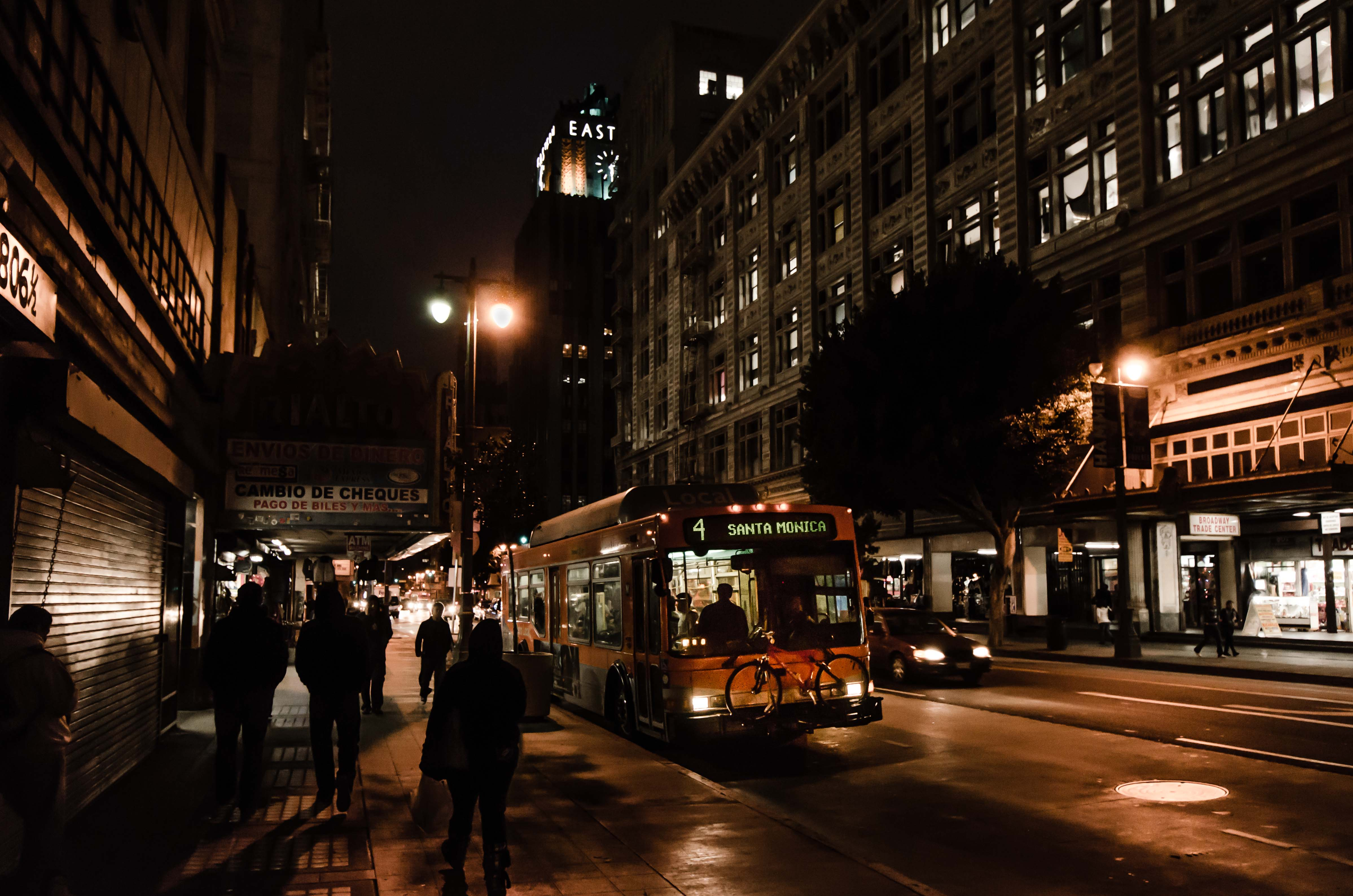 ART OF TRANSIT: The scene on Broadway in downtown Los Angeles last night. Photo by Steve Hymon/Metro.