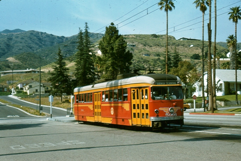 A streetcar on Brand Boulevard in Glendale in the mid 1950s. Photo by Alan Weeks via Metro Transportation Library and Archive's Flickr collection.