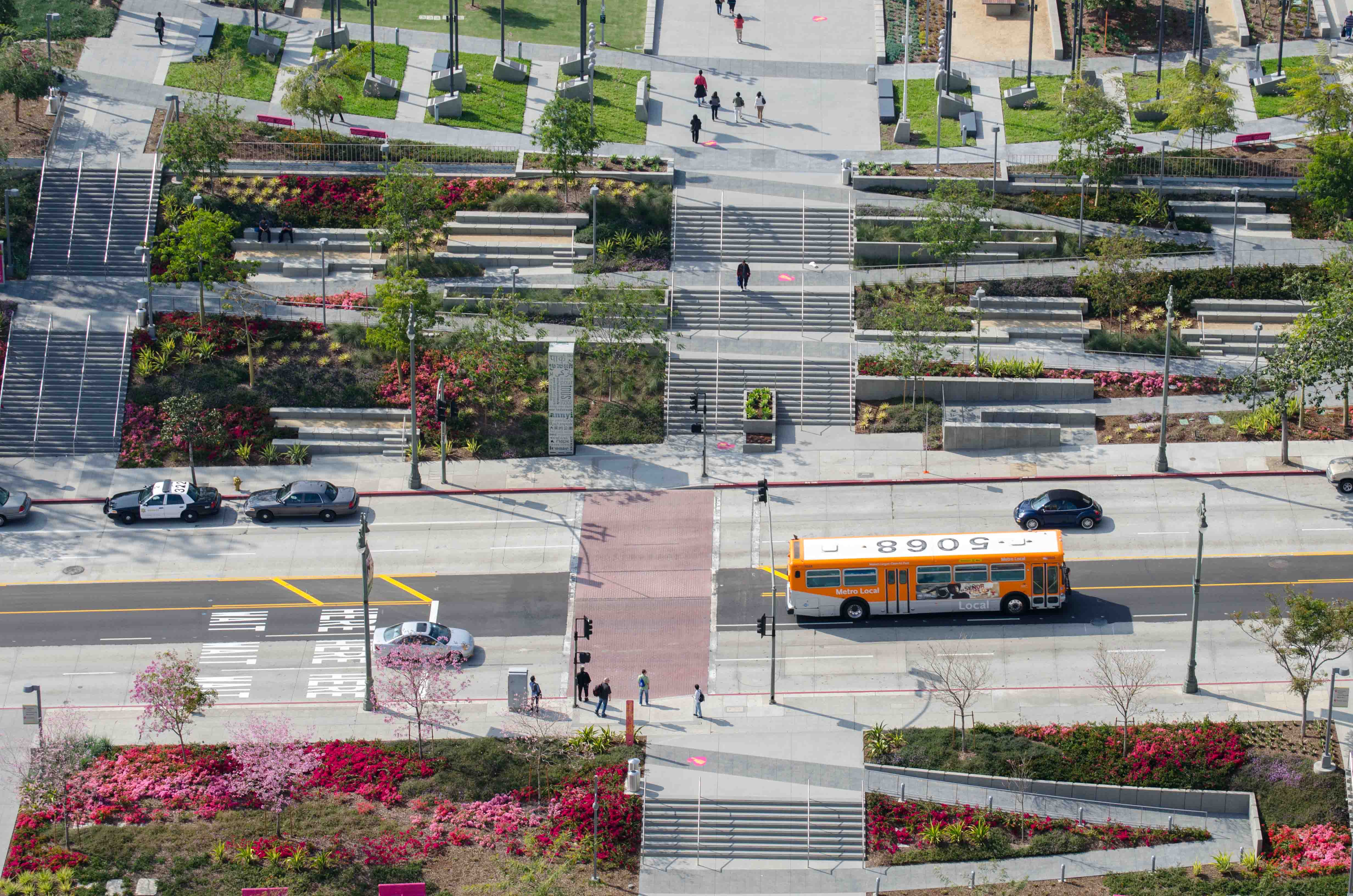 ART OF TRANSIT: A Metro local bus on Broadway passes the entrances to Grand Park in downtown L.A. Photo by Steve Hymon/Metro.