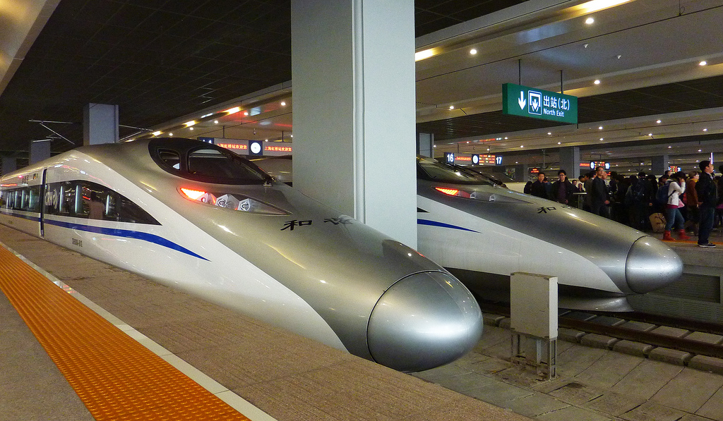 ART OF TRANSIT: Bullet trains in China in a 2010 photo. Photo: kwramm, via Flickr creative commons.