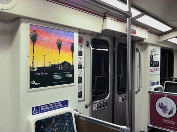 Pico Rivera poster spotted on a Red Line train, part of the Metro Through the Eyes of Artists poster series.
