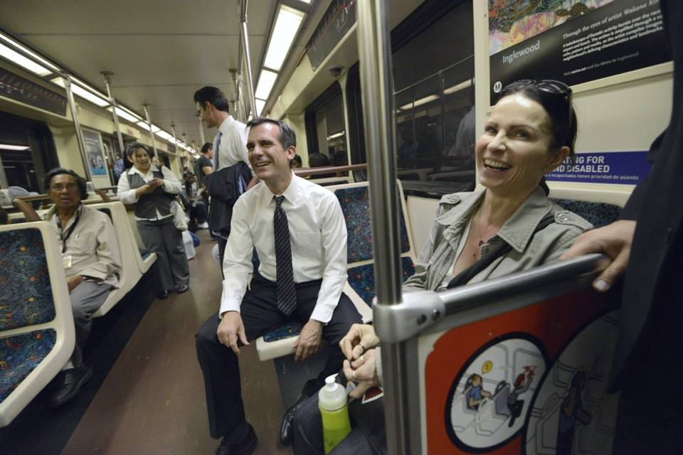Mayor-Elect Eric Garcetti on the Red Line on Monday. Photo: Eric Garcetti for Mayor.