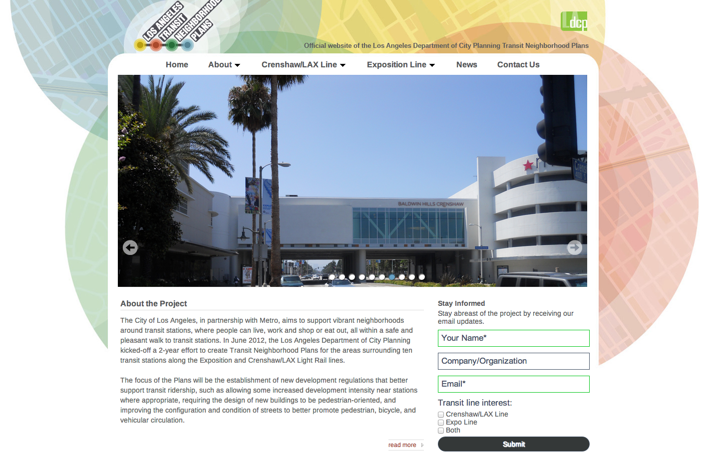 Click above to visit the Los Angeles Planning Department's website detailing the ongoing process to develop zoning plans near transit stations for both the Expo and Crenshaw/LAX Lines.