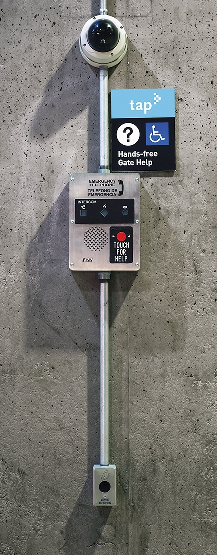 Hands-free intercom for wheelchair patrons.