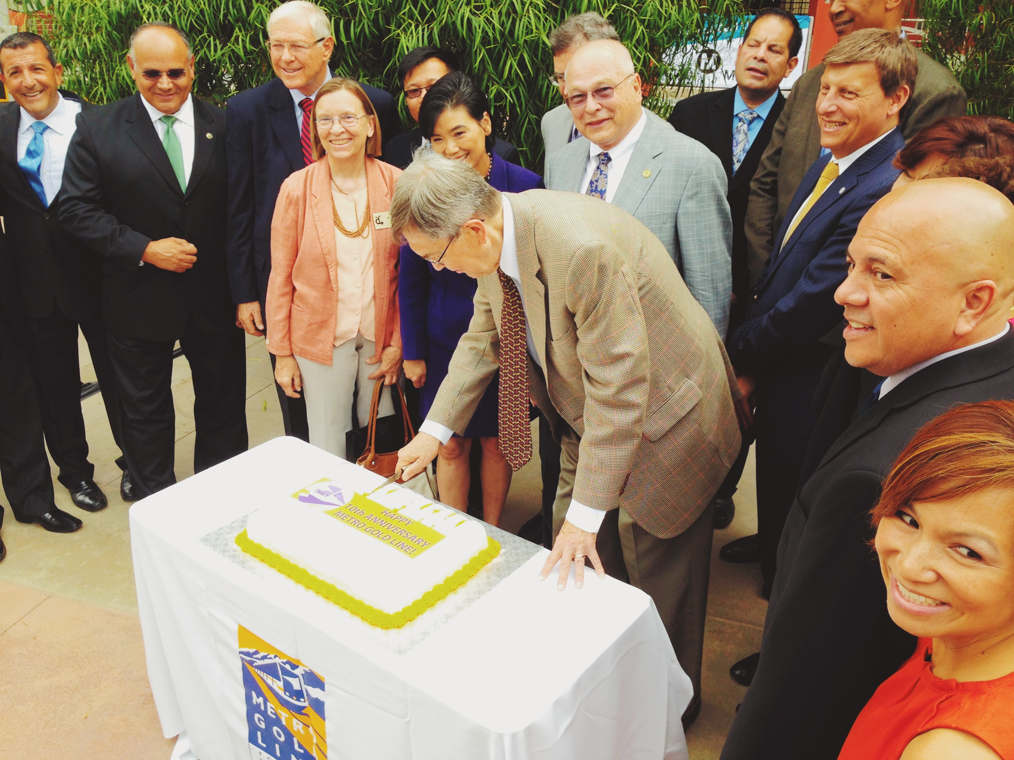 Officials cut the cake on the Gold Line's first decade. Photo by Steve Hymon/Metro.