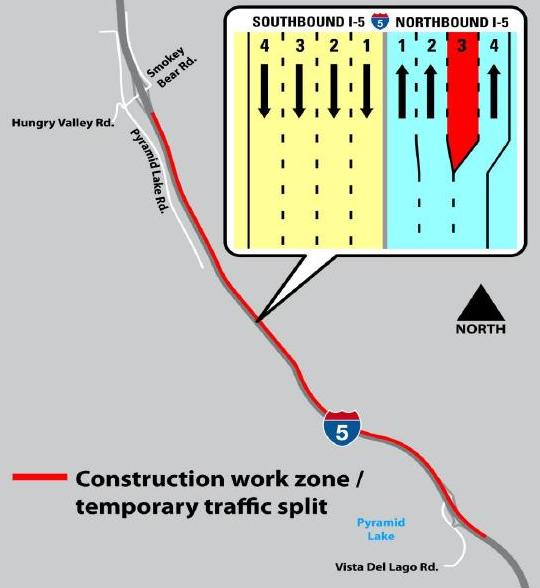 Northbound I-5 in north Los Angeles County reduced to 3