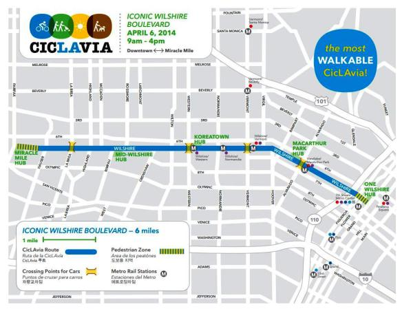 This Sunday's Iconic Wilshire Boulevard event map, courtesy of CicLAvia.