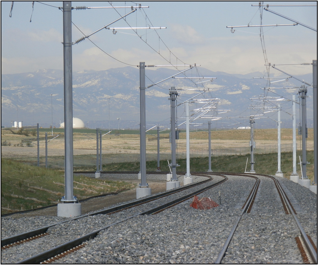 Tracks on the rail project linking downtown Denver to DIA, which sits on the prairie far east of town. Photo via RTD's Flickr page.