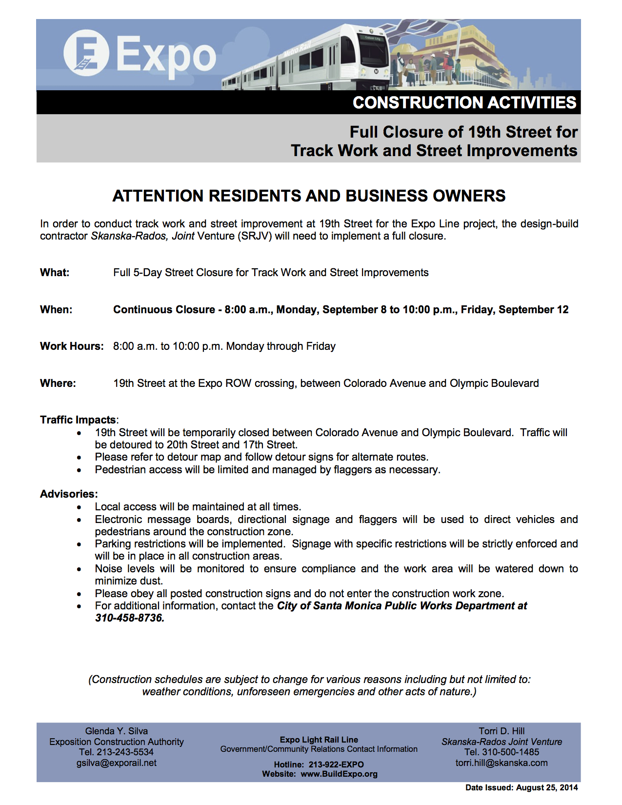 082214-EXPO-P2-CONSTRUCTION-NOTICE-19th-Street-Track-Work-and-Street-Improvements-