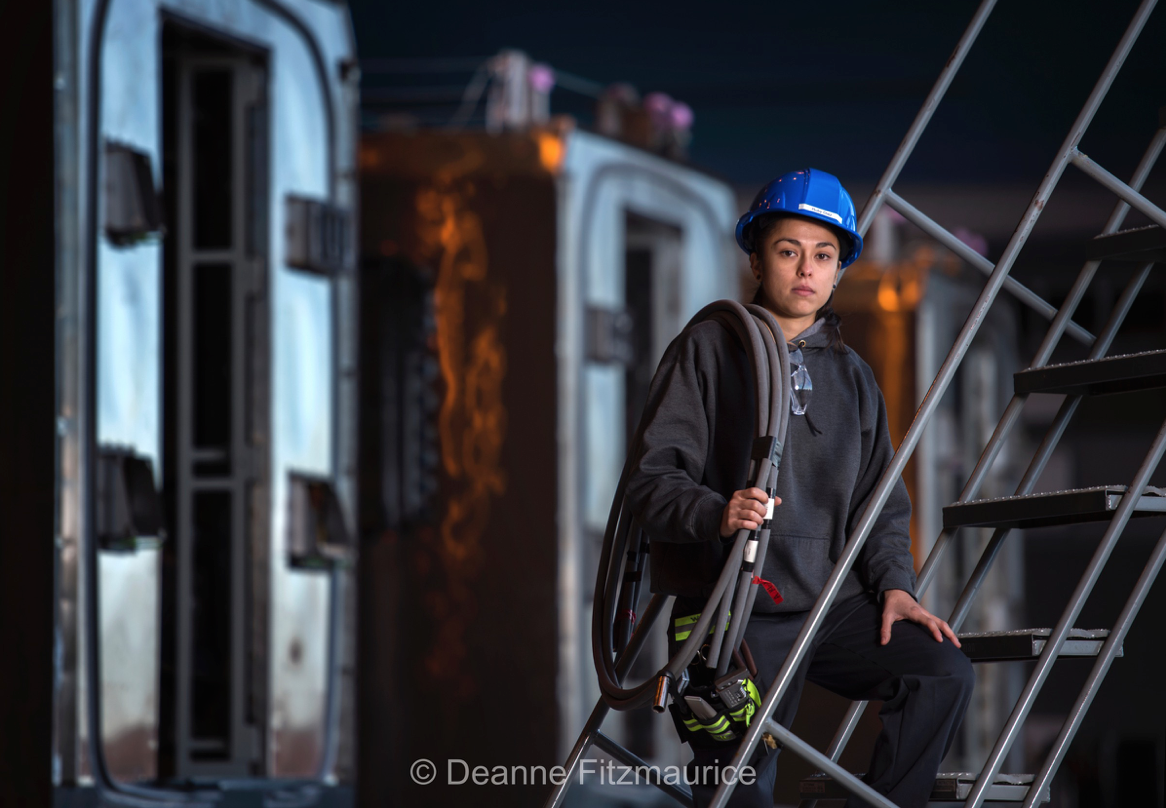 Ruby Diaz, a quality control technician at the Kinkisharyo railcar factory in Palmdale, CA.