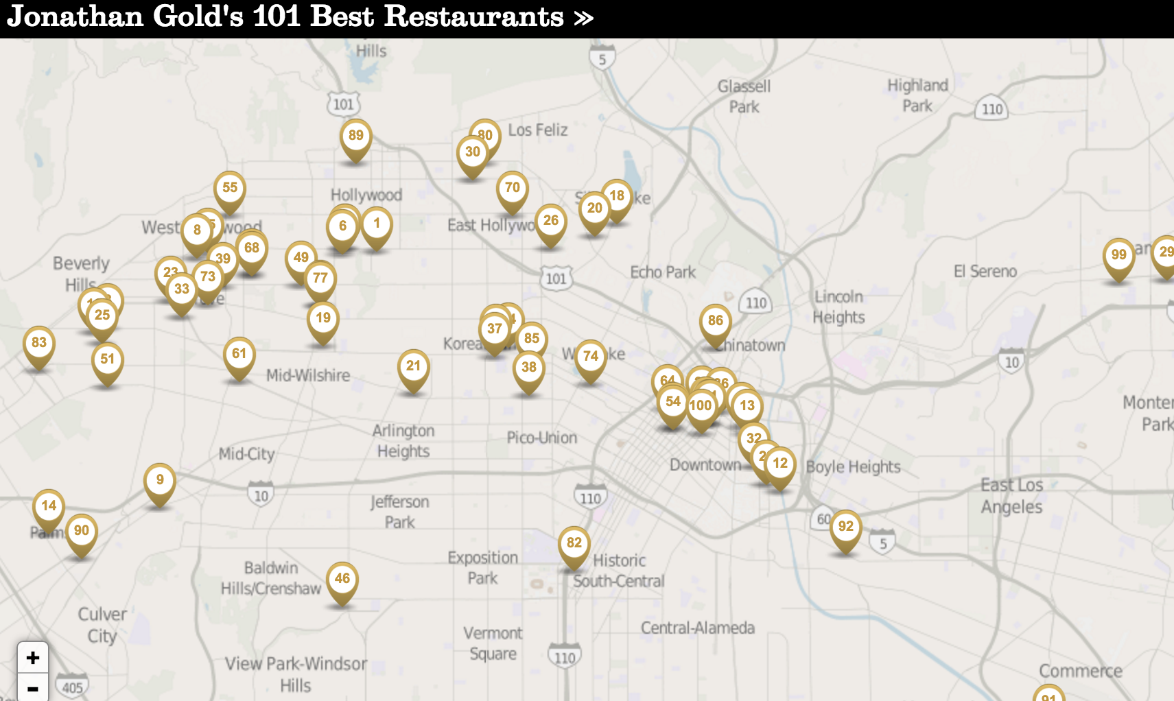 Jonathan Gold 101 Map gold food map | The Source