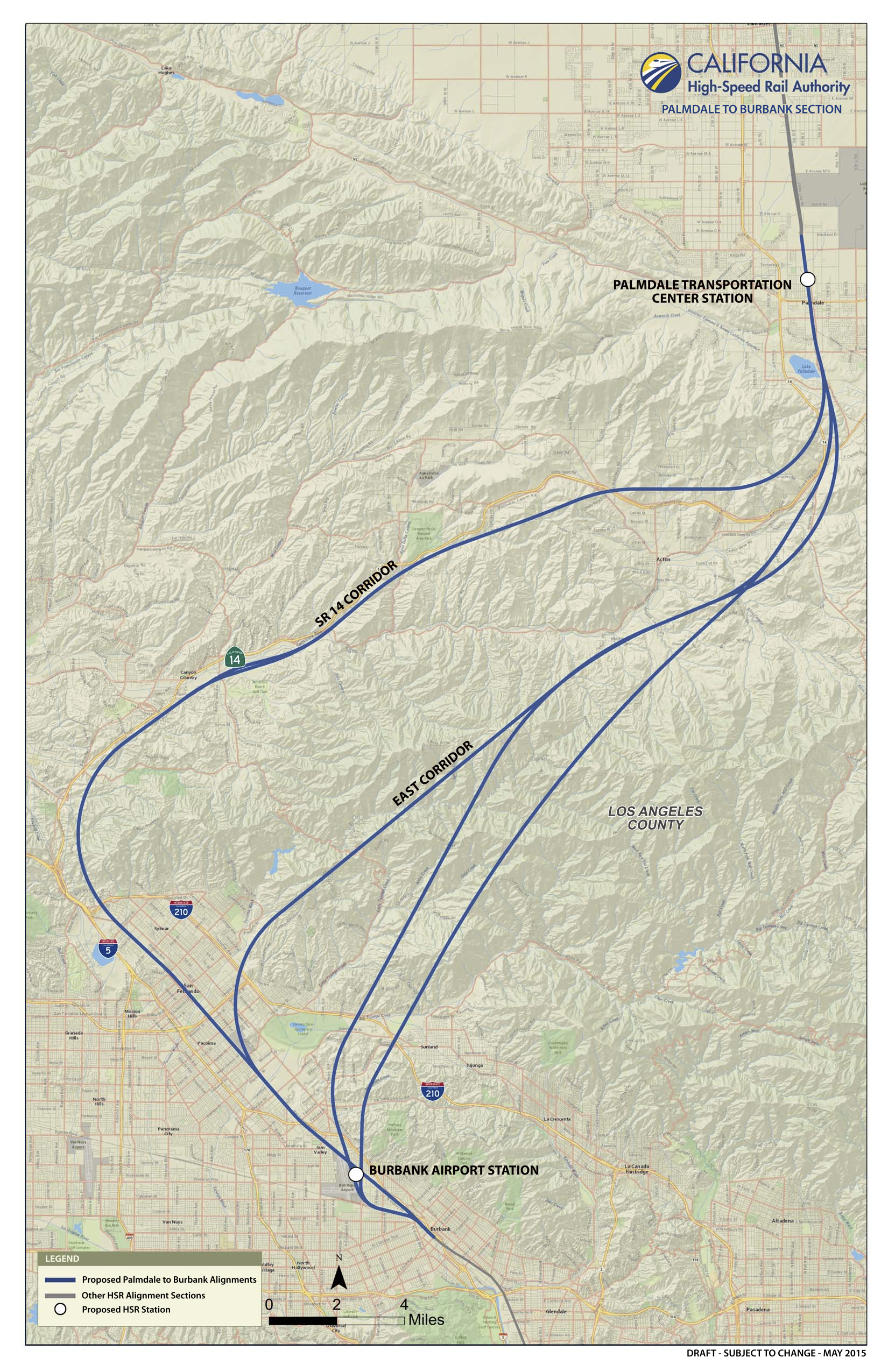 Routes being studied for the Palmdale to Burbank section of the bullet train's route. Credit: California High-Speed Rail Authority.