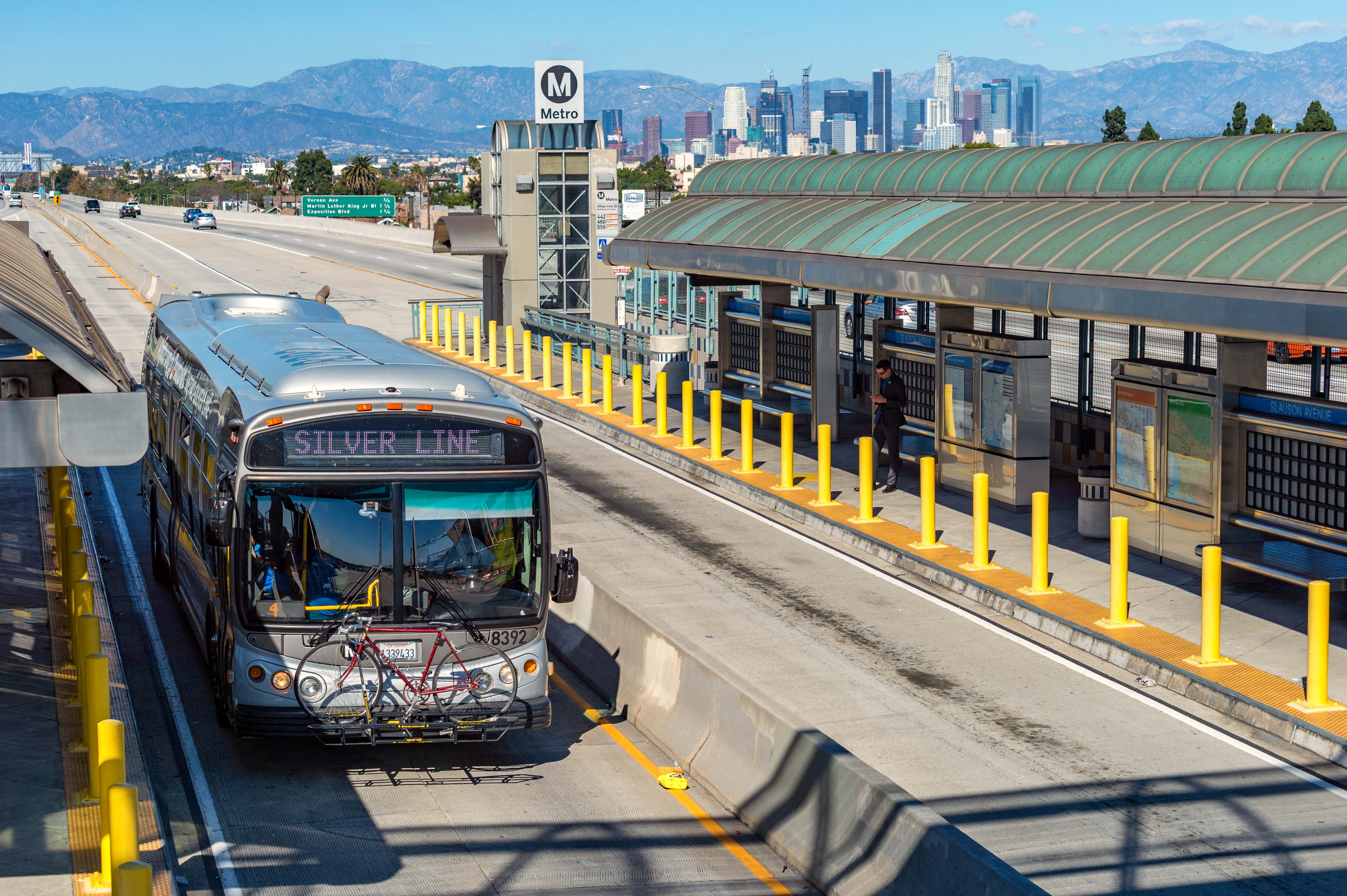 A southbound Silver Line bus on the Harbor Transitway at Slauson Station. The Silver Line will begin running to San Pedro in December. More on that soon! Photo by Steve Hymon/Metro.