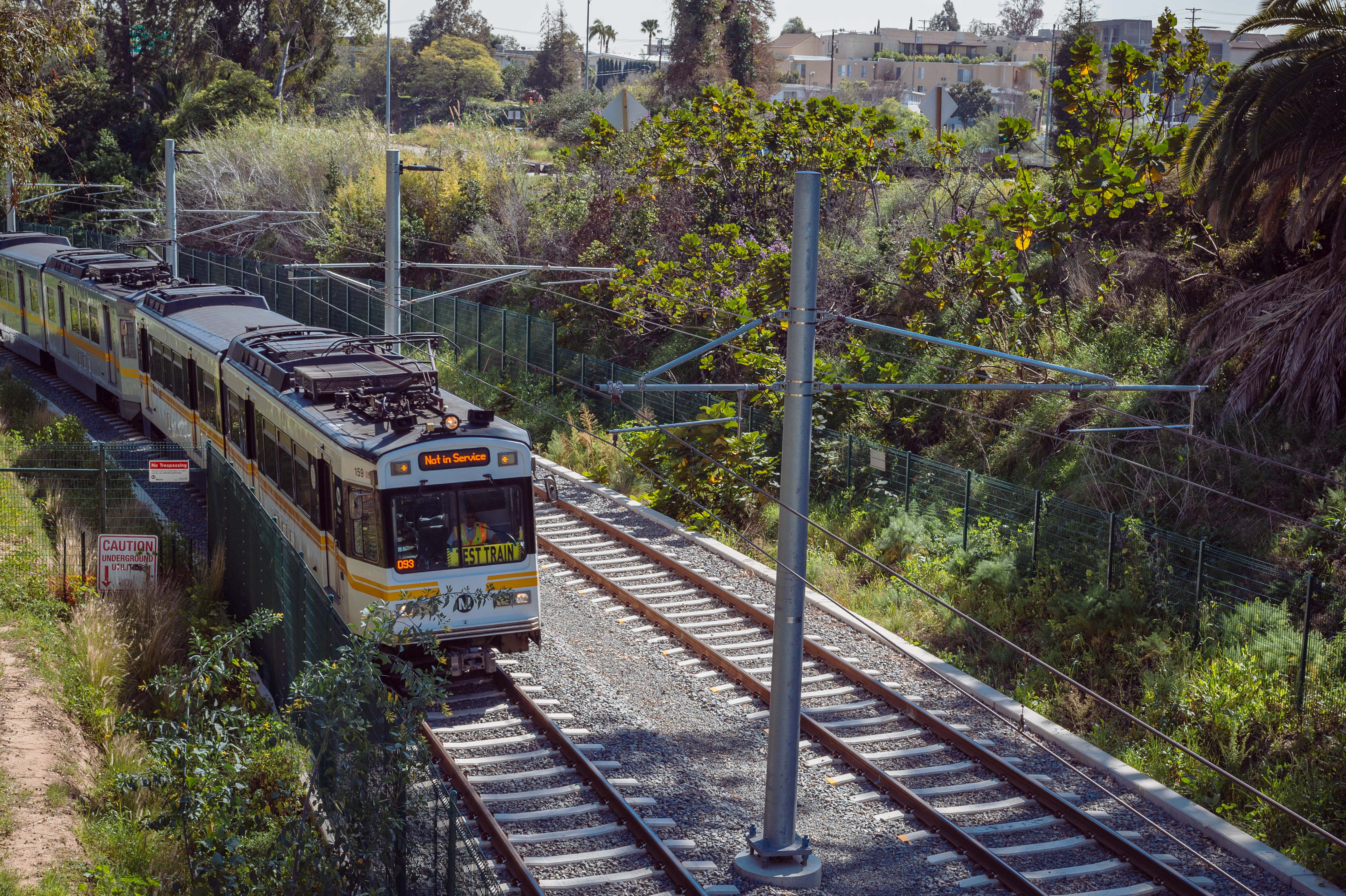 Santa Monica: here we come! Train testing in the Northvale trench between the 10 and Overland Avenue on Tuesday. Photo by Steve Hymon/Metro.