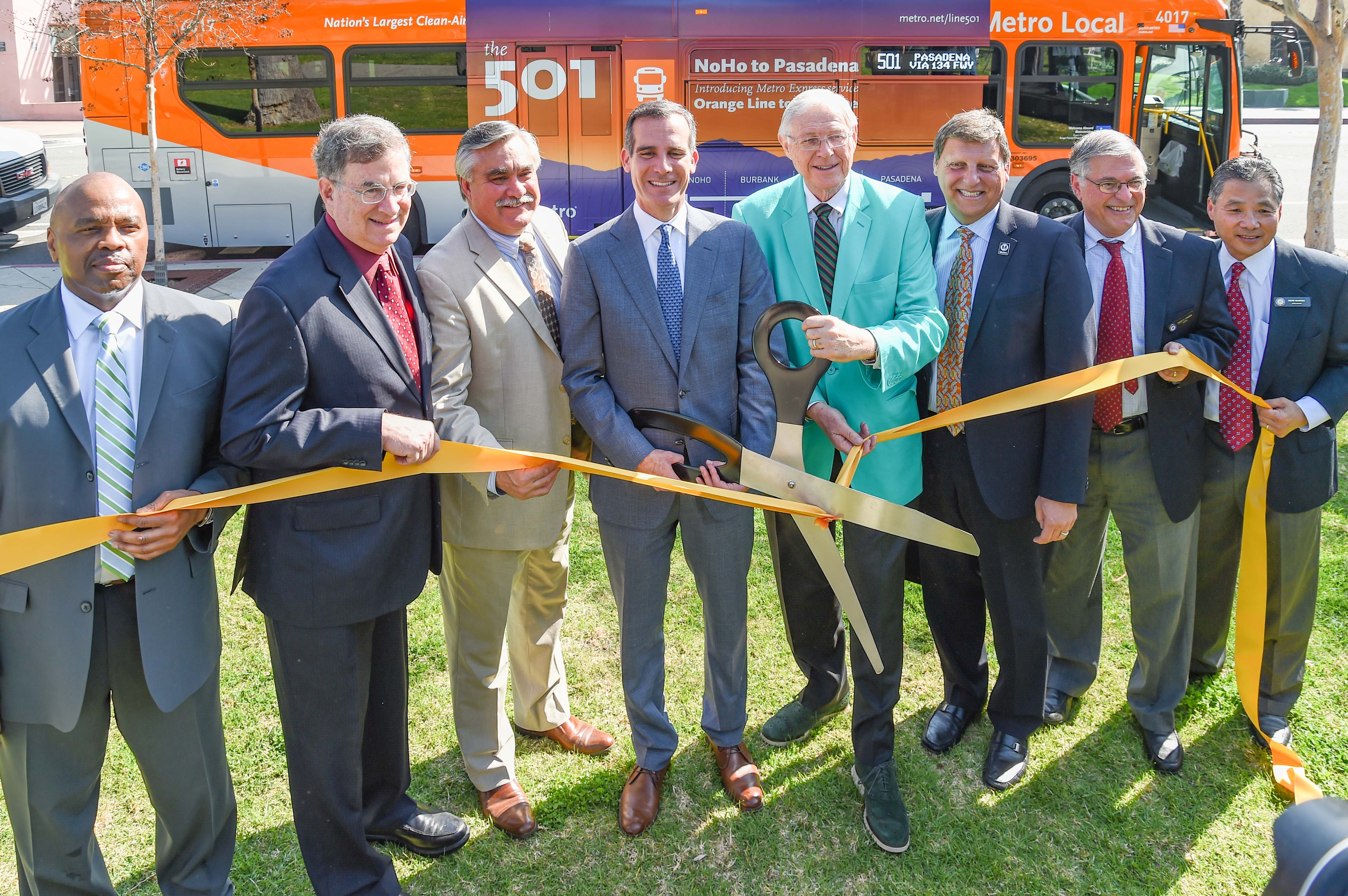 Metro Board Members and other officials broke out the big scissors this morning at the Pasadena Del Mar Station for the new NoHo-Pasadena Express. Photo by Luis Inzunza/Metro.