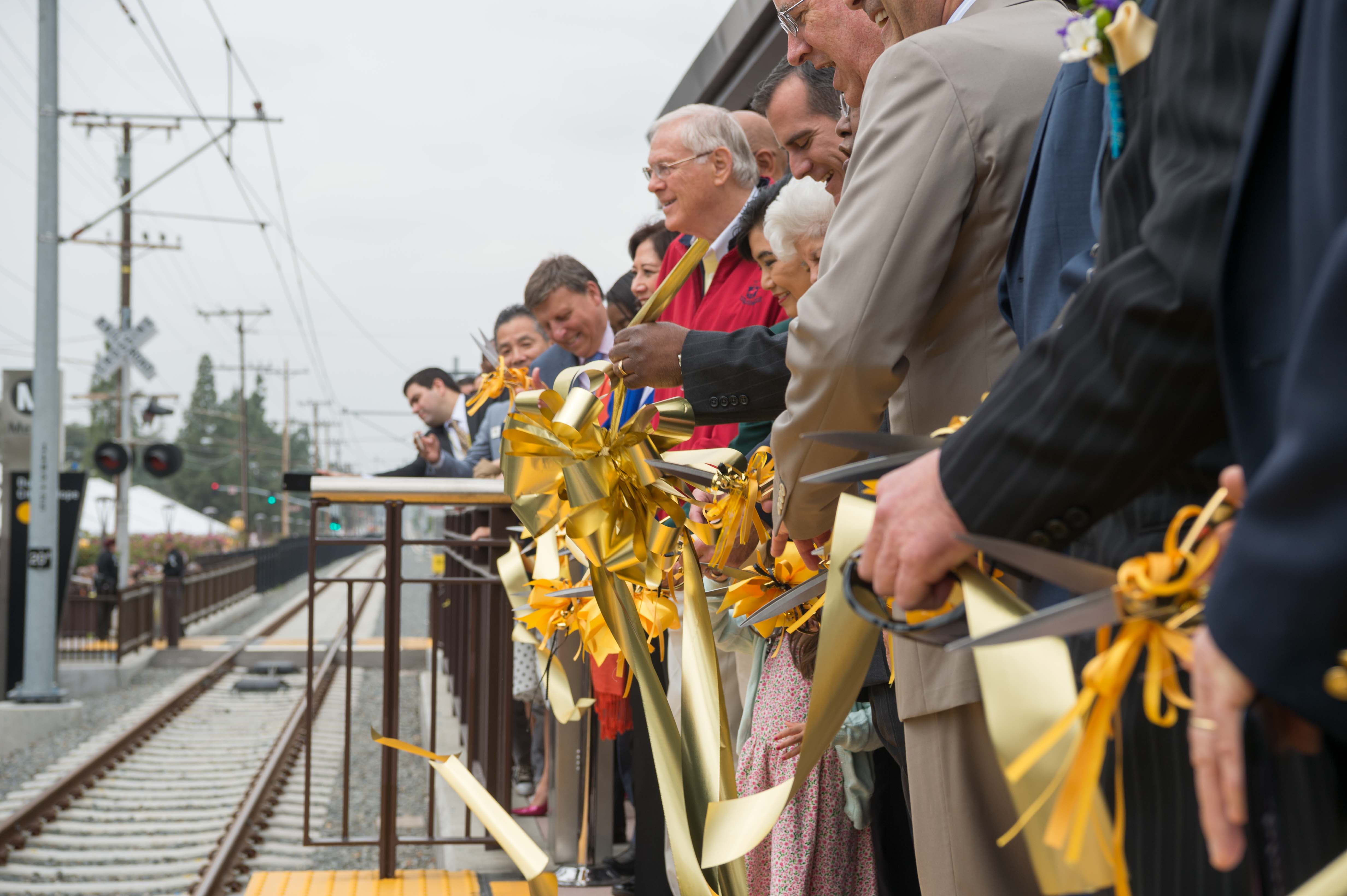 The big ribbon cutting at Duarte/City of Hope Station before trains started running.